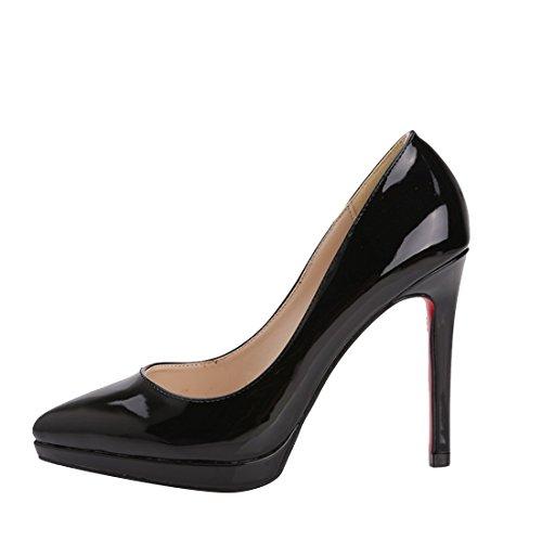 HooH Women's Patent Leather Pointed Toe Platform Stiletto Dress Pumps Black gufByPB98V