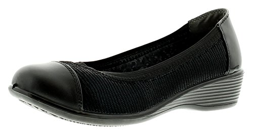 Comfort Plus New Ladies/Womens Slip On Ballerina Style Shoe On Low Wed - Black - UK Sizes 3-8 5CdpRsIy