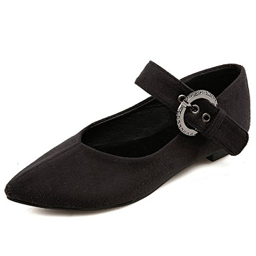 TAOFFEN Women Fashion Elegant Pointed Toe Flat Court Shoes With Buckle Black-2