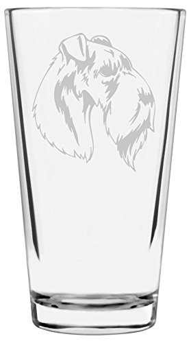 Kerry Blue Terrier Dog Themed Etched All Purpose 16oz Libbey Pint Glass