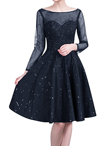 Lace Prom Sequin Knee Navy Dress Blue with Cocktail Dress Long Gown Party Length Homecoming for Short JAEDEN Wedding Sleeves 41wqxX5w