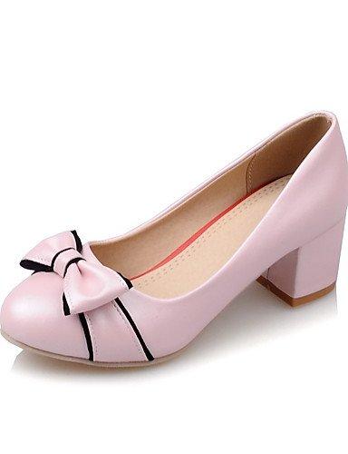 ZQ Zapatos de mujer-Tac¨®n Robusto-Confort / Punta Redonda-Tacones-Oficina y Trabajo / Casual-PU-Negro / Rosa / Blanco , pink-us10.5 / eu42 / uk8.5 / cn43 , pink-us10.5 / eu42 / uk8.5 / cn43 white-us6.5-7 / eu37 / uk4.5-5 / cn37