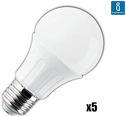 Pack de 5 Bombillas LED A5 A60 gran angulo, 10W, casquillo gordo ...