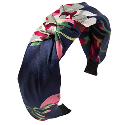 (Simdoc Women Girls Vintage Floral Printed Headband Twist Pleated Knotted Hair Hoop Cloth Wrapped Wide Satin Headwear,4)