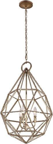Satin Pewter Three Light Chandelier - Feiss P1312BUS Marquise Crystal Bead Chandelier Lighting, Satin Nickel, 3-Light (18