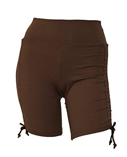 (Private Island Hawaii Women UV Rash Guard Swimming Suit Sun Protection Shorts Hot Pants Bikini Bottom Adjustable Tie Side Boyshorts Brown)