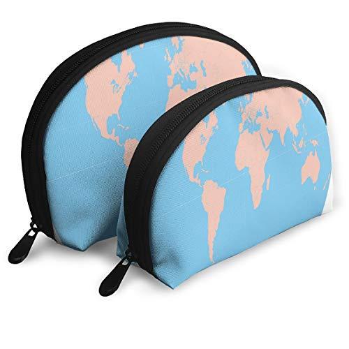Makeup Bag PRINTABLE WORLD MAPS Portable Shell Makeup Case For Girls Halloween Gift 2 -