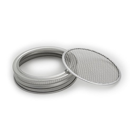 LKXC Canning Jar Strainer Sprouting Lid Set For Sprouts, Sifting, and Straining - Regular Mouth (4pcs)