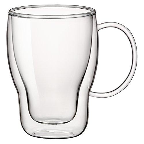 Bormioli Rocco Double Wall Glass 11.75 Ounce Coffee Mug, Set of (11.75 Ounce Mug)