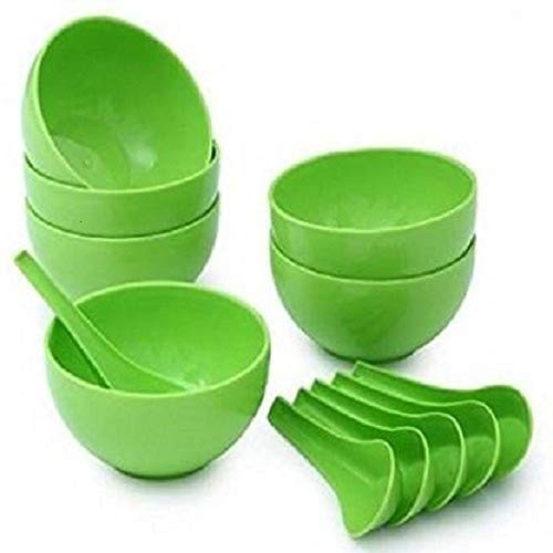 FILPO Soup Bowl 6 Bowls 6 Soup Spoons  Green  Set of 12 Pieces