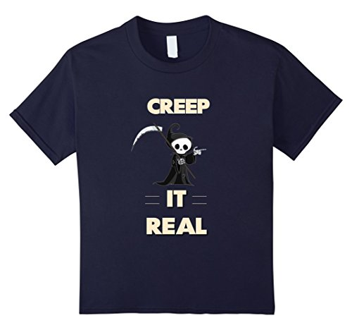 Kids Creep It Real Tee Funny Halloween Grim Reaper Shirt 12 (Real Grim Reaper Costume)