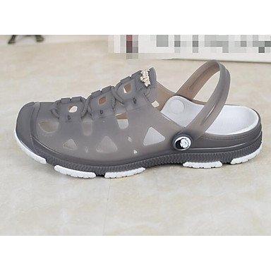 Los hombres sandalias zapatos agujero Confort Casual de resorte de goma plana gris Café Azul,Gris Blue