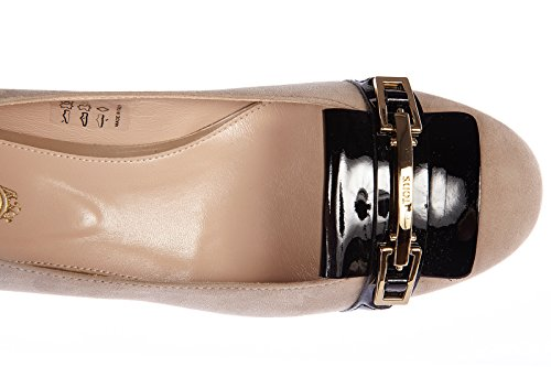 Tod's women's suede pumps court shoes high heel clamp beige low-cost