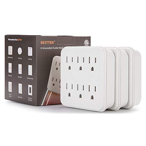 [3 Pack] BESTTEN Multiple Outlet Wall Plug, 6 Outlet Extender, Wall Tap Adapter, Ground Socket Splitter, ETL Certified, White