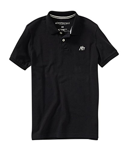 aeropostale-mens-a87-solid-logo-piqu-polo-shirt-m-black