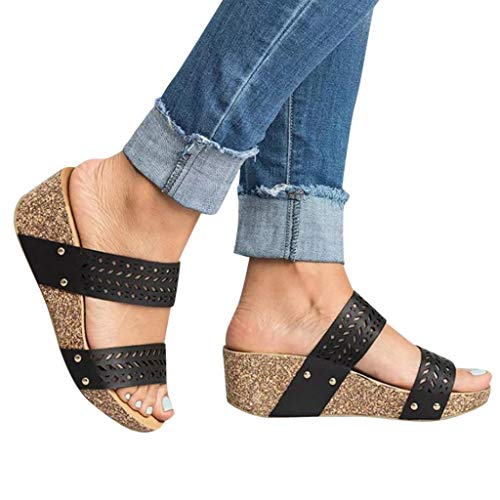 Realdo Women Plus Size Wedge Sandals with Platform Summer Fashion Hollow Out No Heel Shoes