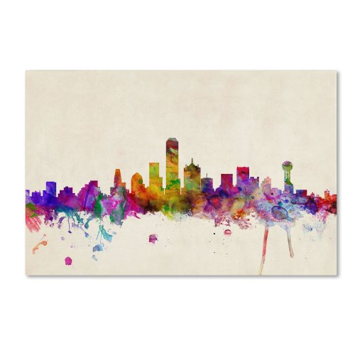 Trademark Fine Art Dallas, Texas by Michael Tompsett, 16 by 24-Inch Canvas Wall Art (Poster Dallas Canvas)