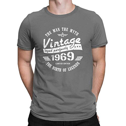 Vintage 1969-50th Birthday Gift Novelty T Shirt 50 Years Old Tees Sarcastic Deep Heather