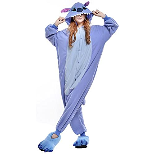 Sunrise Adults Stitch Onesie Halloween Costumes Animal Sleeping Wear Kigurumi Pajamas Cosplay (Medium, Blue)
