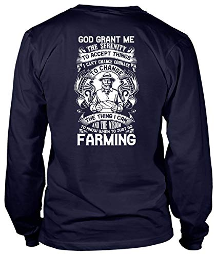 When to Just Go Farming Long Sleeve Tees, God Grant Me The Serenity T Shirt-LongTee (S, Navy) -