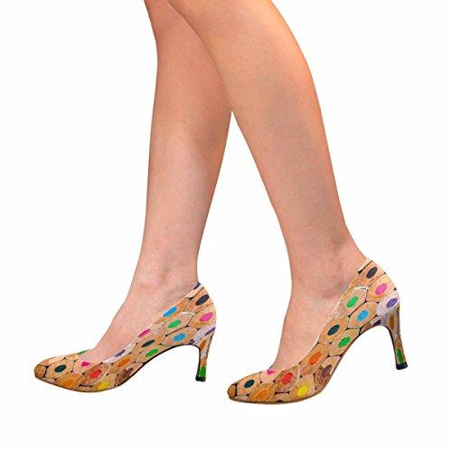 Closeup Di Interestprint Womens Classico Moda Tacco Alto Pompa Closeup Di Matite Colorate Sfondo