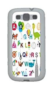 26 Letters Of The Alphabet Custom TPU Rubber Soft Case and Cover for Samsung Galaxy S3 /S III White