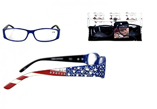 Montana West Rhinestone Star Flag Patriotic Reading Eye Glasses Case Cloth Red Jp (USA American Blue, - Bling Frames Eyeglass