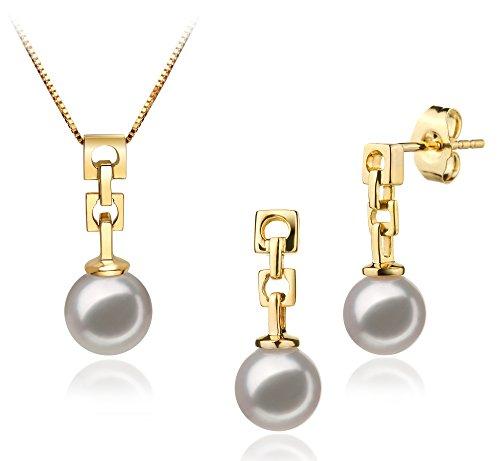 Blanc 6-7mm AA-qualité Akoya du Japon 585/1000 Or Jaune-un set en perles