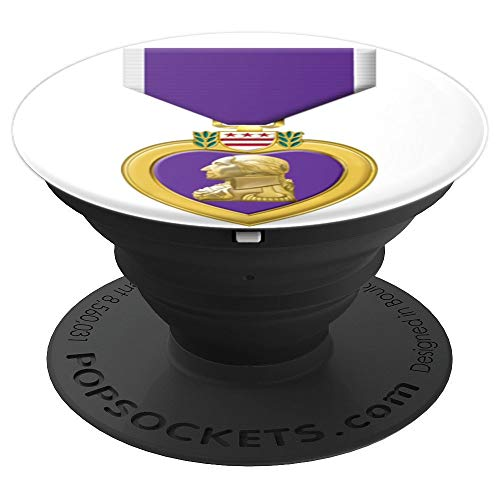 Medal Heart Military (Purple Heart COMBAT WOUNDED Gift - PopSockets Grip and Stand for Phones and Tablets)