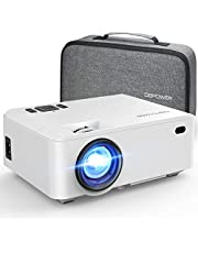 Projector, DBPOWER RD-820 Mini Projector Portable Video Projector with Carrying Case, 5500Lux 1080P and 200'' Display Supported, Projector Compatible with TV Stick, PS4, HDMI, VGA, TF, AV and USB photo
