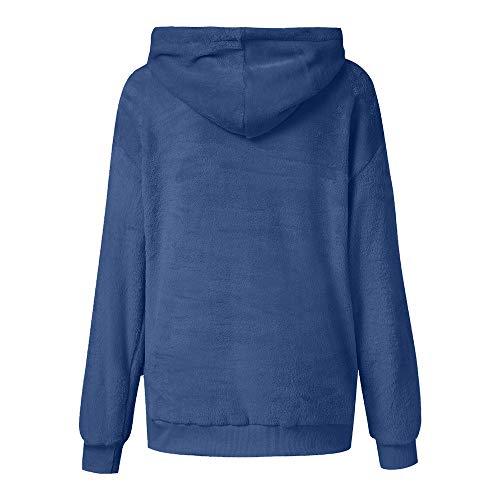 Maniche Maglione ❤ Vovotrade Lunghe In Caldo Bicolore Velluto Invernale Donna A Scuro Cappuccio Con Acrilico Velato Blu Donna Da qRqp8