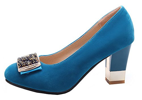 Toe Shoes High Suede Imitated Women's Blue Closed Heels on Pumps Round Pull Solid WeenFashion w4Hx7II8