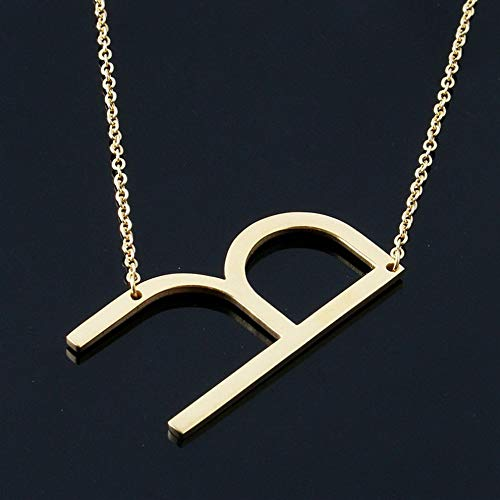Werrox Personalized Stainless Steel Initial Large 26 A-Z Letters Pendant Chain Necklace | Model NCKLCS - 21711 | ()