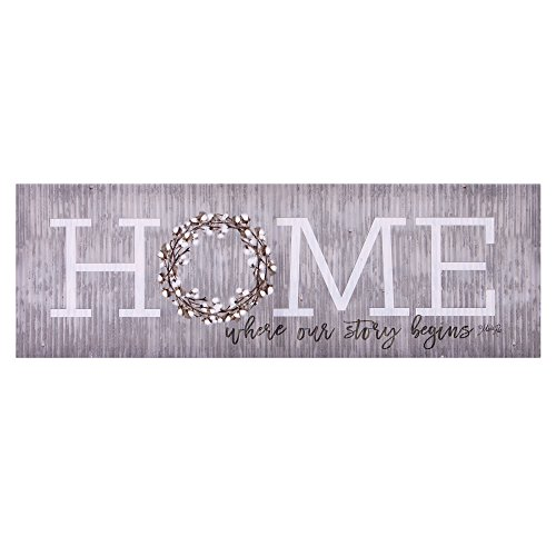 Patton Wall Decor Home is Where Our Story Begins Art Wrapped Canvas, Gray (Home Begins Your Is Where Story Sign)