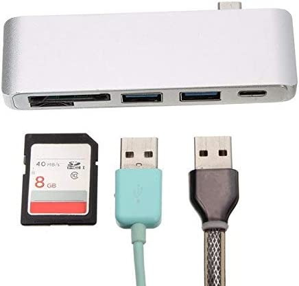 Silver Computer Peripherals USB Hubs MITUHAKI 5 In 1 USB 3.1 Type-C To USB 3.0 2 Ports High Speed Hub Card Reader Support Laptop Charging - 1 5 In 1 USB 3.1 Type-C To USB 3.0 2 Ports High