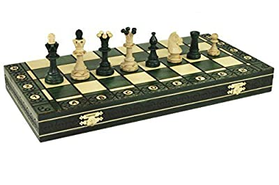 """CONSUL GREEN HANDCRAFTED TOURNAMENT WOODEN CHESS Board 19 x 19""""- Chessmen Weighted"""