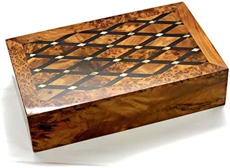bazaardi 手彫り 木製ボックス 記念品ボックス 収納 ジュエリー 装飾アートオーガナイザー マザーオブパーレ(大型木製ボックス、アンティーク) without lock レッド