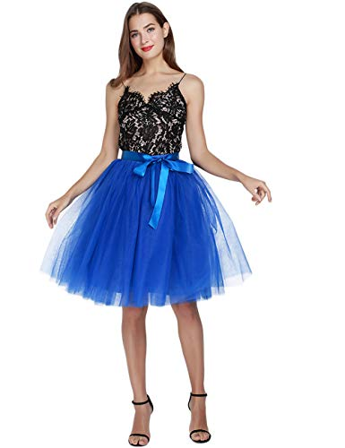 Womens High Waist Princess A Line Midi/Knee Length Tutu Tulle Skirt for Prom Party Royal Blue Free Size (Cookie Monster Tie)