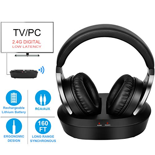 Cordless Tv - Wireless TV Headphones with 2.4G Digital RF Transmitter, HiFi Stereo Over Ear Cordless Headset for Watching TV, 160Ft Range and Rechargeable 20 Hour Battery
