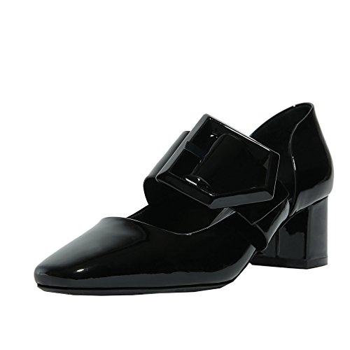 ENMAYER Frauen Split Leder Slip auf spitzen Zeh Schuhe für Frauen Square Heels Frühling Herbst Shallow Casual Dress Schuhe Schwarz(5.5cm)
