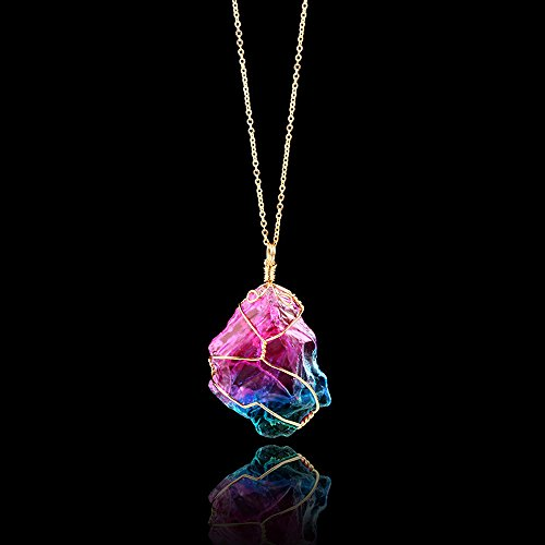 Gbell Girls Rainbow Stone Necklace Chain - Natural Crystal Rock Necklace Gold Plated Quartz Pendant for Women Girl,1Pcs (Blue)