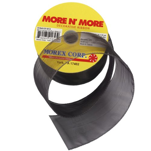 Sheer Wired Edge Ribbon - Morex Ribbon Wired 2-1/2-Inch Chiffon Ribbon with 20-Yard Spool, Black