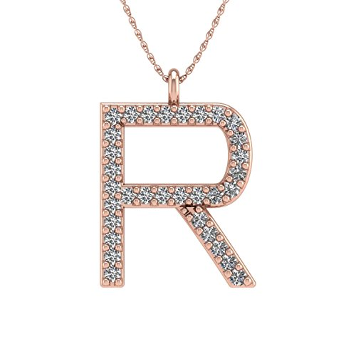 IGI Certified 10K Rose Gold Alphabet Initial Letter R Diamond Pendant Necklace (0.06 Carat) (Pendant Initial 0.06 Ct)