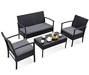 SKB Family 4 pcs Modern Outdoor Patio Rattan Wicker Furniture Set