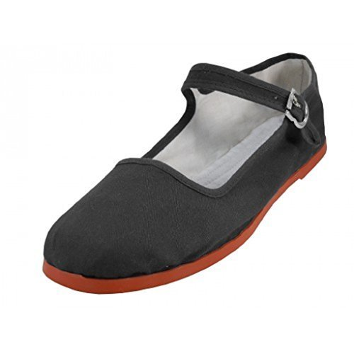 Shoes 18 Womens Cotton China Doll Mary Jane Shoes Ballerina Ballet Flats Shoes 11 Colors (8, 114 Black Canvas) Jane Black Shoes