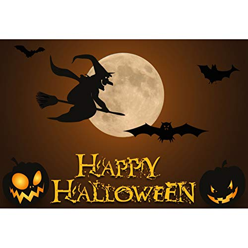 Laeacco Happy Halloween Polyester Photography Backdrop 7x5ft Costume Party Background Grimace Pumpkin Lantern Bat Witch Broom Full Moon All Saint's Day Holiday Decor Portrait Shoot Poster Banner -