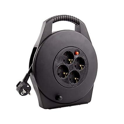 Carrete Alargador de Cable 10m Negro efectoLED 1687_2858