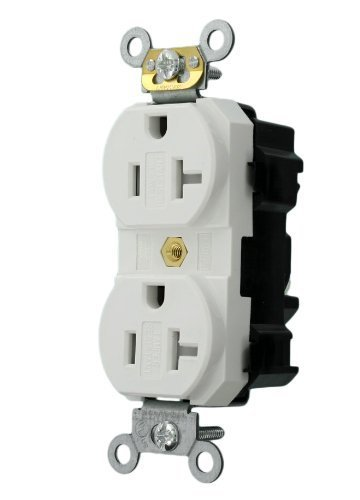 Leviton MT563-SW 20-Amp, 125-Volt, Narrow Body Duplex Receptacle, Fed Spec Commercial Grade, Tamper-Resistant, Self Grounding, White by Leviton (125v Narrow Body)