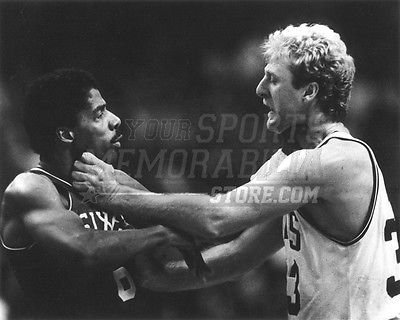 Larry Bird Boston Celtics choking Dr. J 76ers b&w 8x10 11x14 16x20 photo 111 - Size 11x14