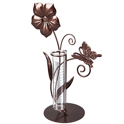 CEDAR HOME Rain Gauge Outdoor Garden Wireless Glass Brass Metal Tabletop Cute Professional Raingauge Lawn Yard Patio Decor 8oz, 10.5'' W x 6'' D x 16'' H, Butterfly Flower by CEDAR HOME